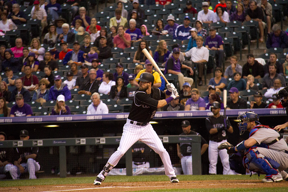 David Dahl. Colorado Rockies vs L.A. Dodgers. August 4, 2016. (Kevin J. Beaty/Denverite)  colorado rockies; los angeles dodgers; baseball; sports; kevinjbeaty; coors field; denver; denverite; colorado;