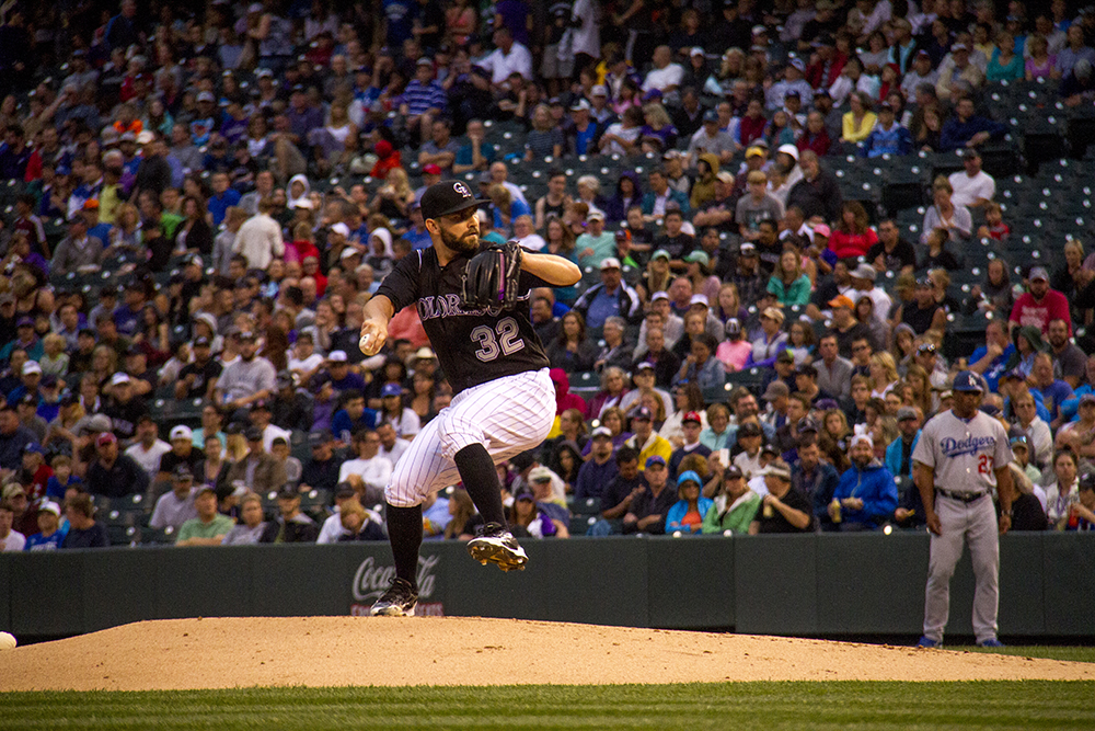 Tyler Chatwood. Colorado Rockies vs L.A. Dodgers. August 4, 2016. (Kevin J. Beaty/Denverite)  colorado rockies; los angeles dodgers; baseball; sports; kevinjbeaty; coors field; denver; denverite; colorado;