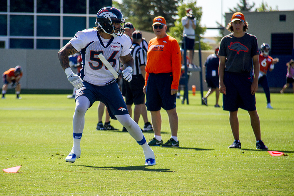 Shane Ray runs drills at Denver Broncos Training Camp in 2016. (Kevin J. Beaty/Denverite)  broncos; football; training camp; sports; kevinjbeaty; denver; denverite; colorado;
