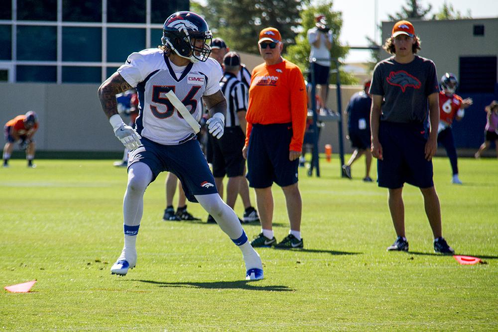 Shane Ray runs drills at Denver Broncos Training Camp in 2016. (Kevin J. Beaty/Denverite)  broncos; football; training camp; sports; kevinjbeaty; denver; denverite; colorado;