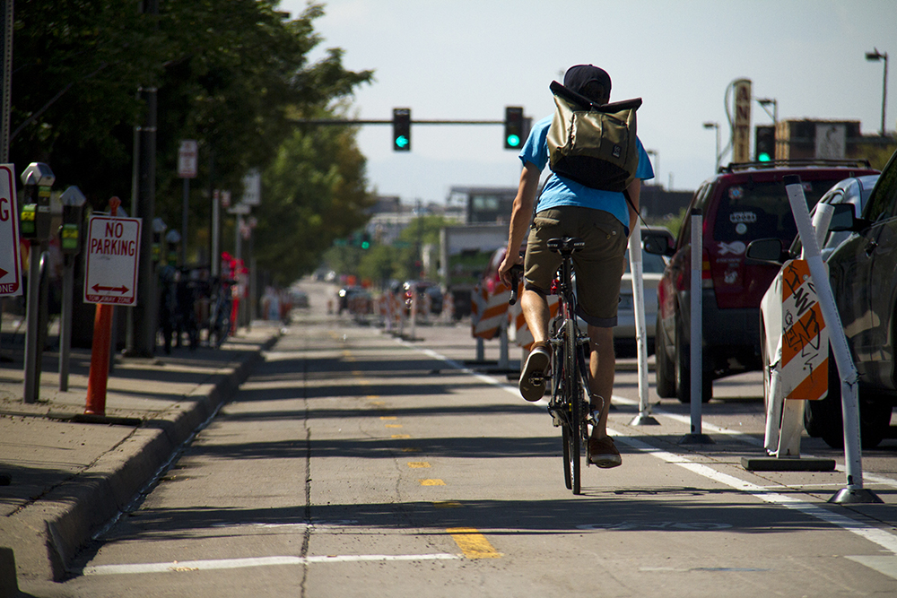 Double protected bike lanes on South Broadway. (Kevin J. Beaty/Denverite)