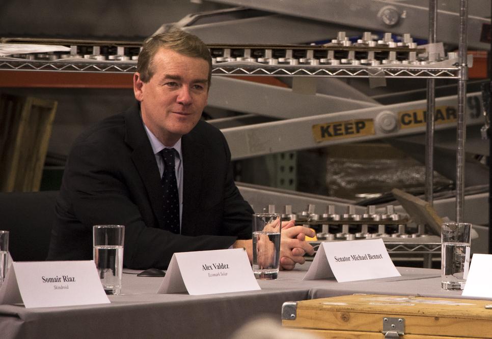 Senator Michael Bennet at Tim Kaine roundtable at Primus. (Chloe Aiello/Denverite)