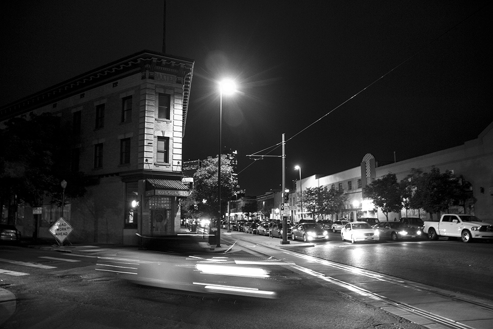 After dark at the intersection of Welton Street, Washington and 26th, Five Points. (Kevin J. Beaty/Denverite)  welton street; five points; development; kevinjbeaty; denver; denverite; colorado;