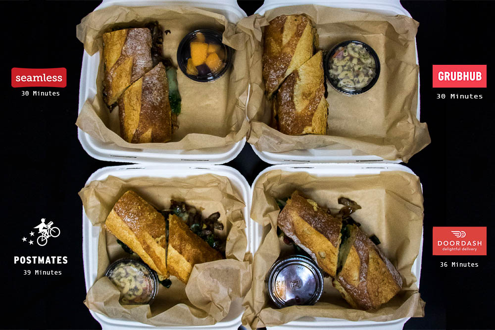 The results of our delivery competition--looking a little rough, Postmates. (Chloe Aiello/Denverite)