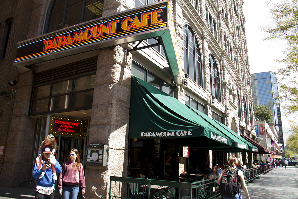 The Paramount Cafe and Marlowe's on the 16th Street Mall. (Kevin J. Beaty/Denverite)
