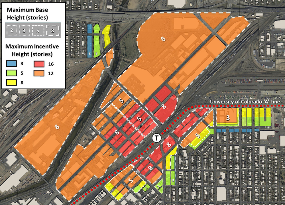 Proposed height amendments at 38th and Blake streets. The numbers are the base heights allowed under the zoning. The colors indicate the height that would be allowed if affordable housing is included. (Courtesy City of Denver)  38th and blake; rino; development; denver; colorado; denverite;