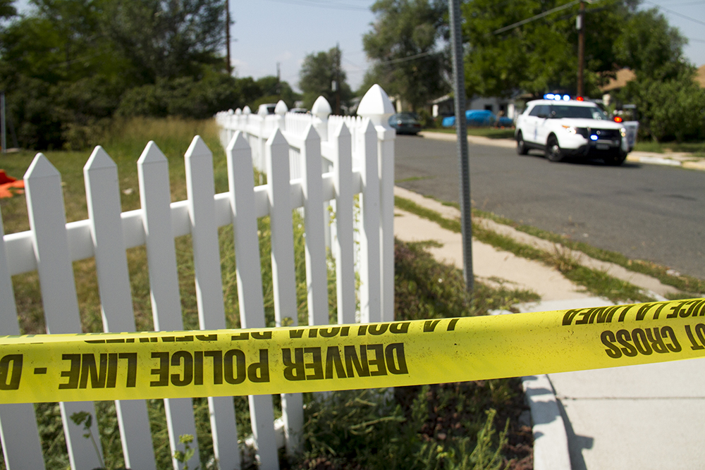 A crime scene after an officer-involved shooting near Bates and Bryant, southwest Denver, on Aug. 31, 2016. (Kevin J. Beaty/Denverite)  crime scene; police; denver; colorado; kevinjbeaty; college view; south platte;