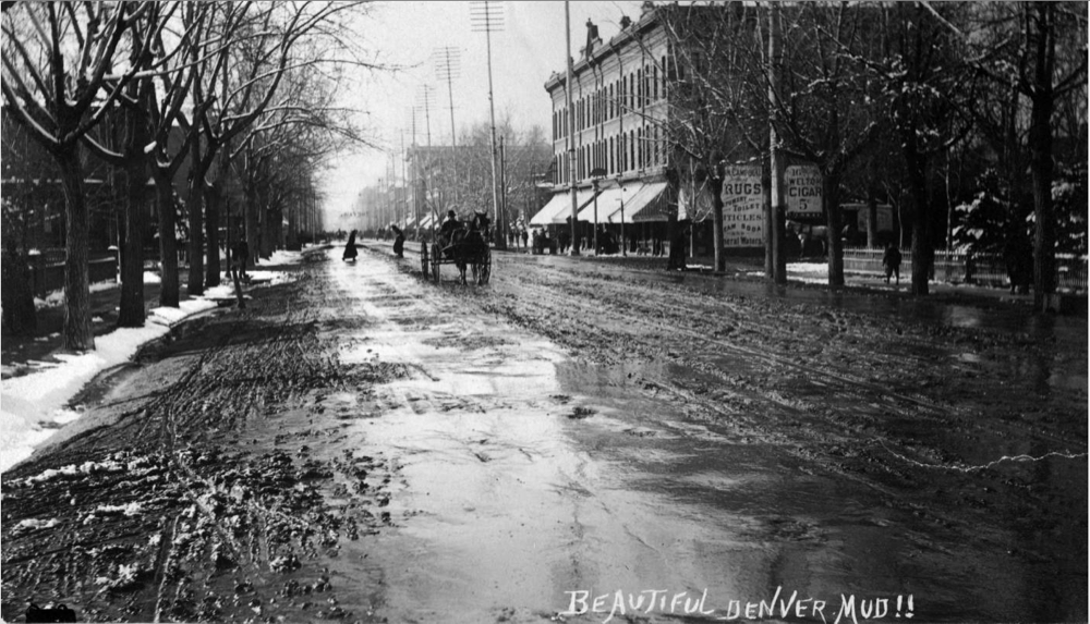 This is actually Welton Street at its intersection with 16th. (Benjamin Hopkins/Denver Public Library/Western History Collection/X-22764)