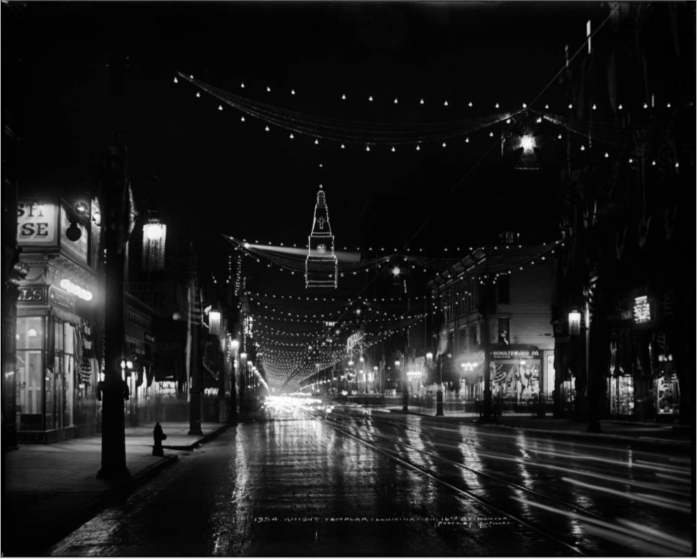 Night view of 16th Street illuminated with decorative lights for a Knight Templar meeting held August, 1913. (Denver Public Library/L. C. McClure collection/MCC-1954)