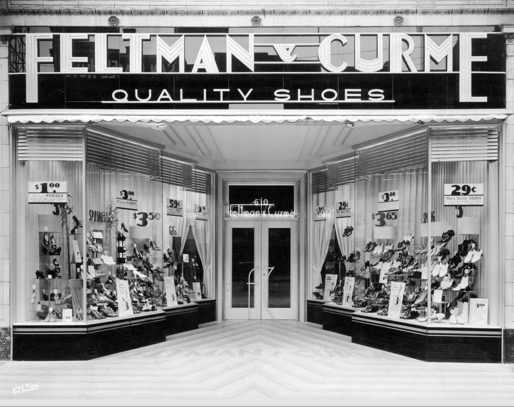 View of the Feltman and Curme shoe store at 610 16th Street, circa 1930s. (Denver Public Library/ Western History Collection/	X-24550)
