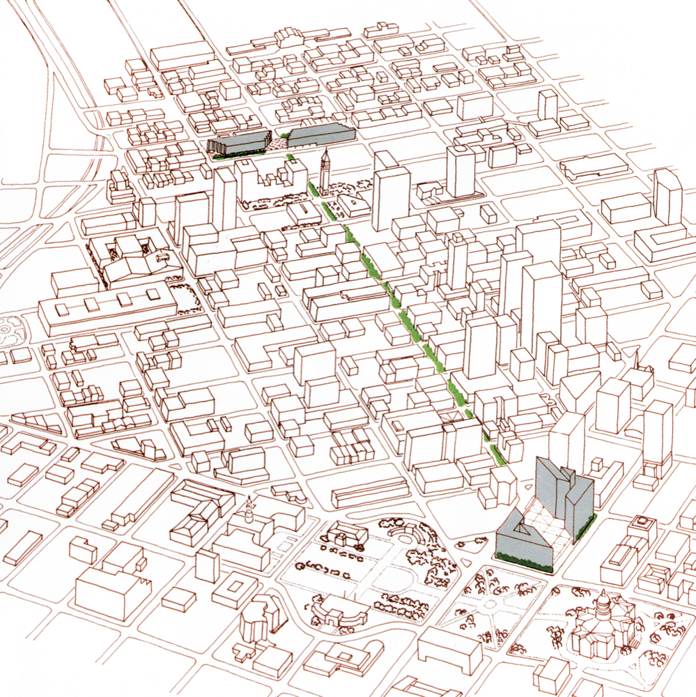 """A view from the 1977 plan for the """"Transitway."""" © Pei Cobb Freed & Partners"""