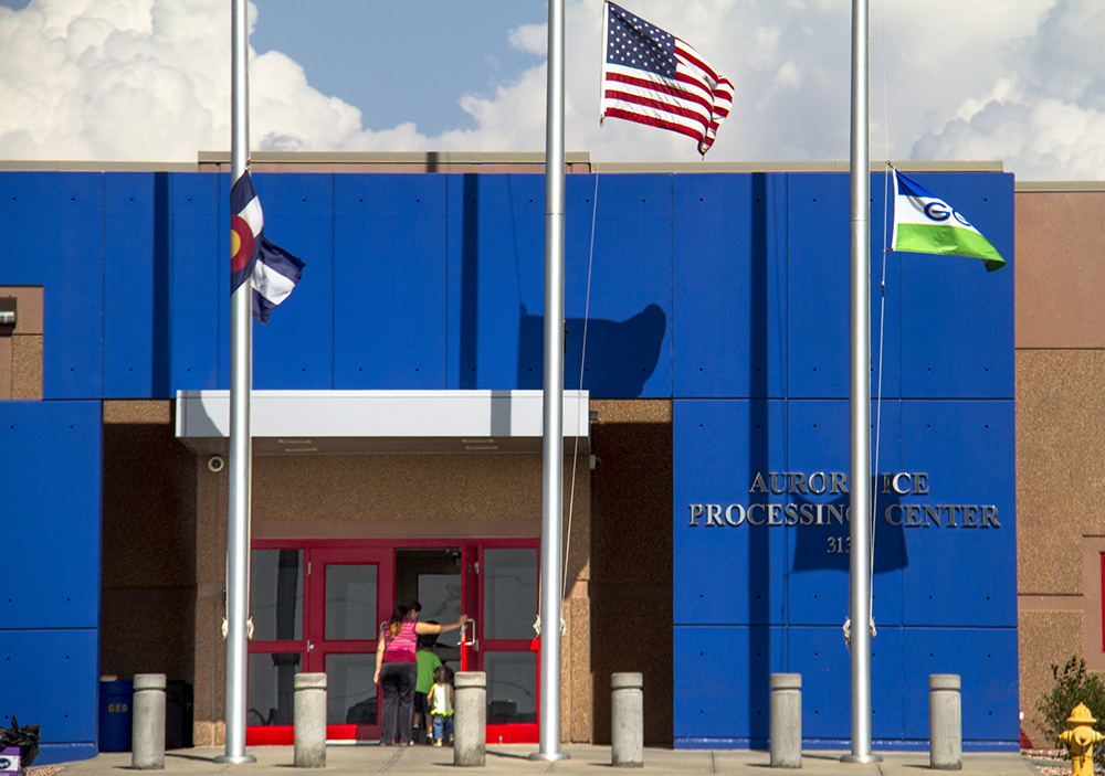 The GEO private detention facility in Aurora that houses non-citizen detainees for immigration and asylum cases. (Kevin J. Beaty/Denverite)  immigration; detention; jail; kevinjbeaty; denver; aurora; denverite; colorado;