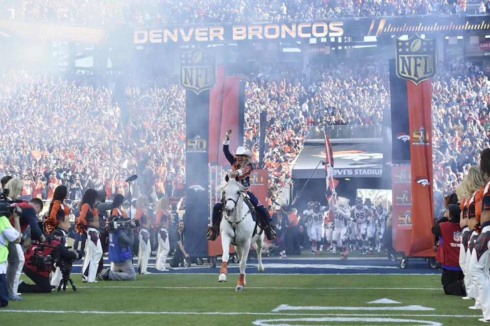 Denver BroncosAnn Judge-Wegener and Thunder during pregame festivities before kickoff  against the Carolina Panthers in Super Bowl 50 at Santa Clara, Calif.  February 7, 2016 (Photo by Eric Lars Bakke/ Denver Broncos)