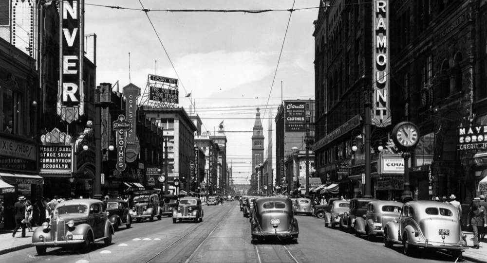 16th Street in 1938. (Otto Roach/Denver Public Library/Western History Collection/X-23375)