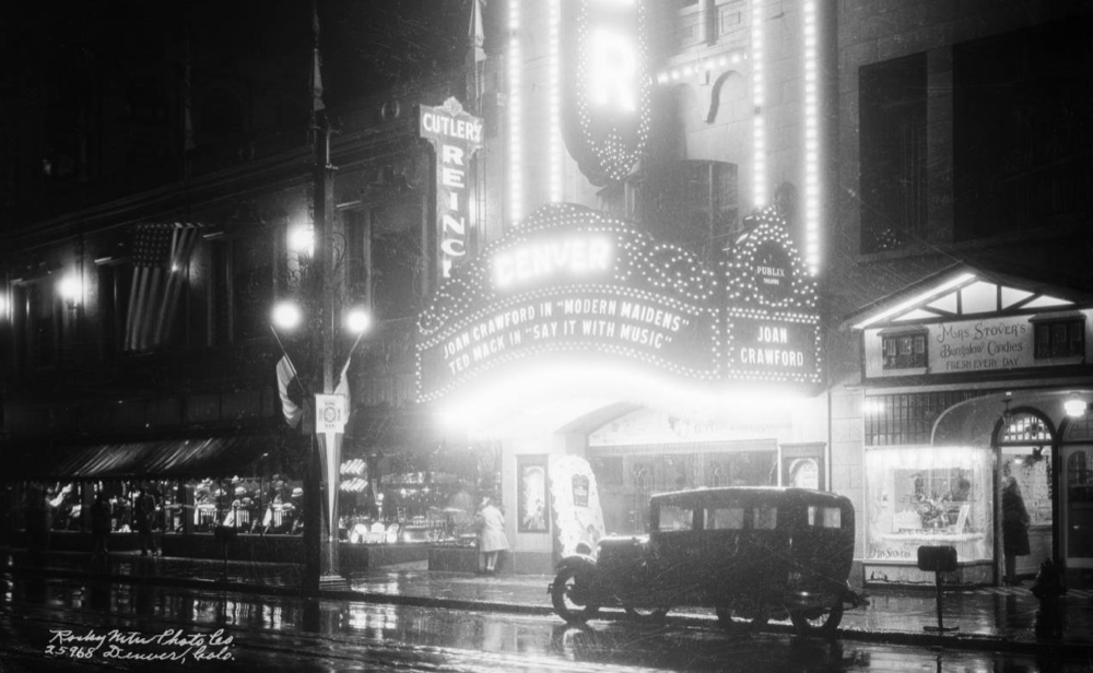 The entrance of the Denver Theater at 510 16th Street in 1929. Cropped from the original. (Denver Public Library/Western History Collection/X-24595)