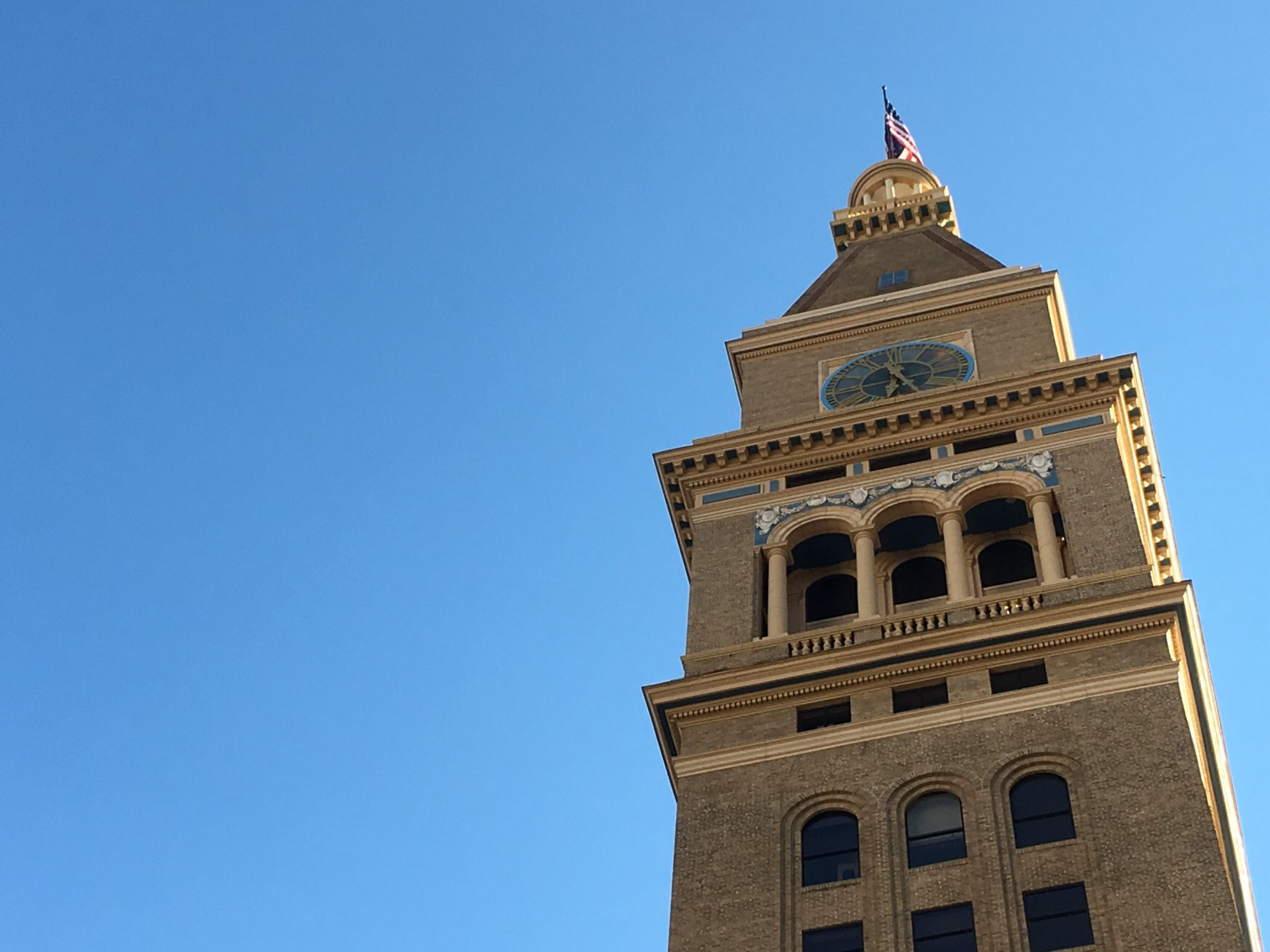 The clocktower in downtown Denver, as seen from Skyline Park. (Dave Burdick/Denverite)