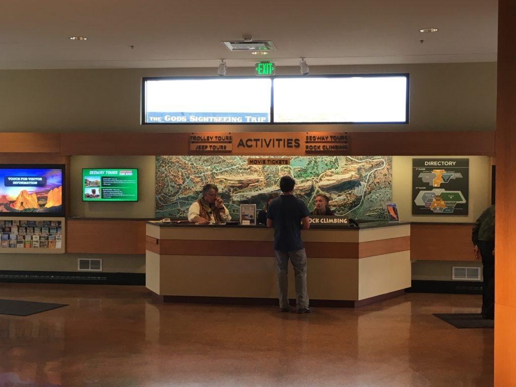 The front desk at the Garden of the Gods Visitor Center in Colorado Springs. (Dave Burdick/Denverite)