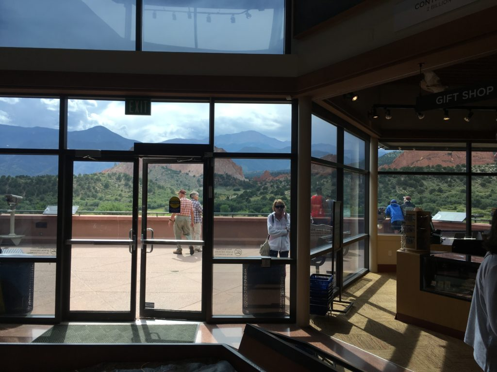 You can't beat the views from the main level, gift shop and cafe at the Garden of the Gods Visitor Center. (Dave Burdick/Denverite)