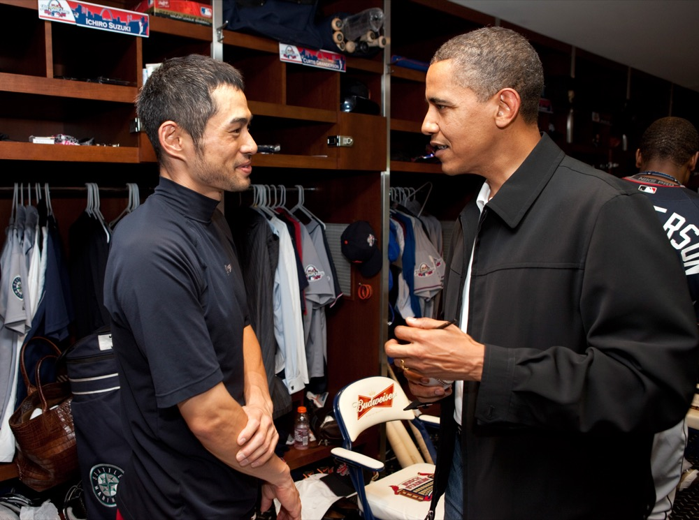 President Barack Obama talks with then Seattle Mariner Ichiro Suzuki in the locker room before the start of the MLB All-Star Game, July 14, 2009.  (Official White House Photo by Pete Souza)
