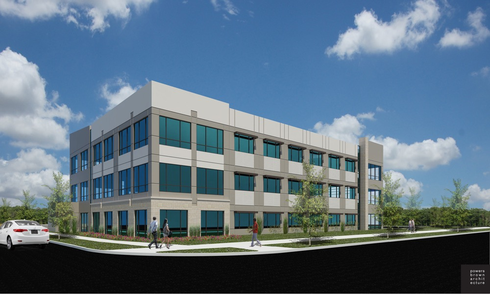 A computer-aided design of One Central Park , an office building proposed in Northfield. (Courtesy of CBRE)