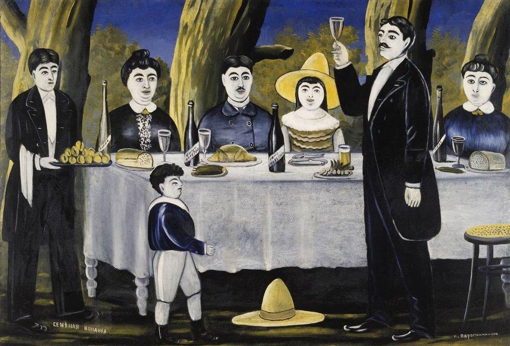 """Family feast,"" by the 19th and 20th century Russian artist Niko Pirosmani (Wikimedia/Public Domain)"