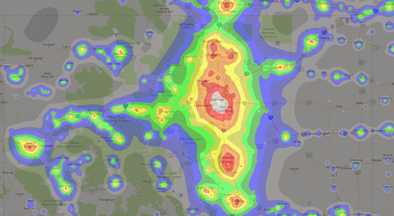 Screenshot of a light-pollution map provided by Google Maps and David Lorenz