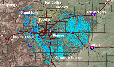 Doppler radar over the Denver area at noon Aug. 11. (National Weather Service)