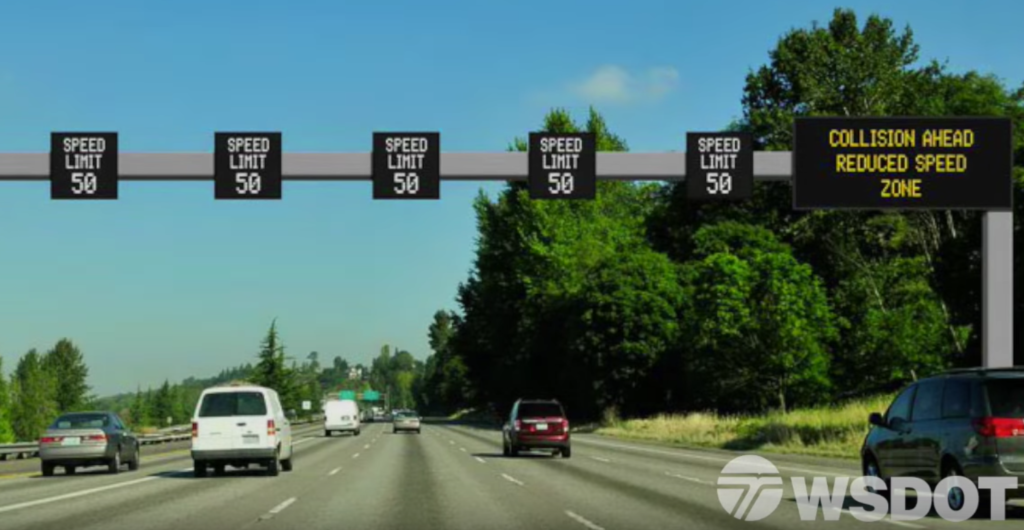 "A Washington State DOT illustration of a ""smart sign"" system."" (WSDOT)"