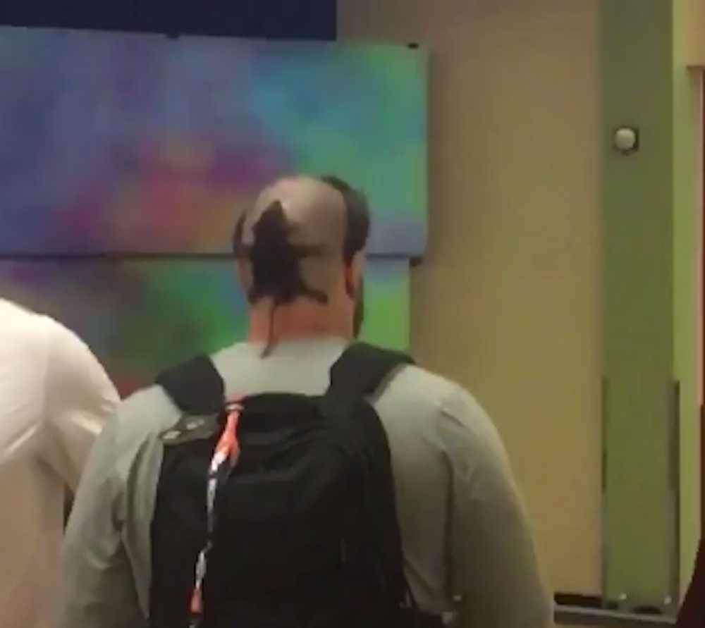 Rookie Connor McGovern got an unfortunate haircut Tuesday. (Screen shot via DeMarcus Ware's Twitter)