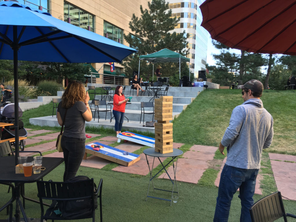 Games at the beer garden in Skyline park in downtown Denver. (Dave Burdick/Denverite)