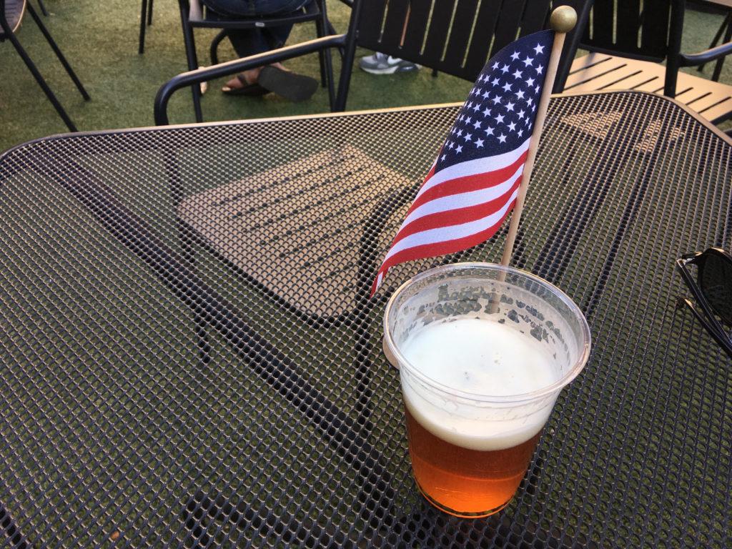 A beer at the beer garden at Skyline Park in downtown Denver. (Dave Burdick/Denverite)