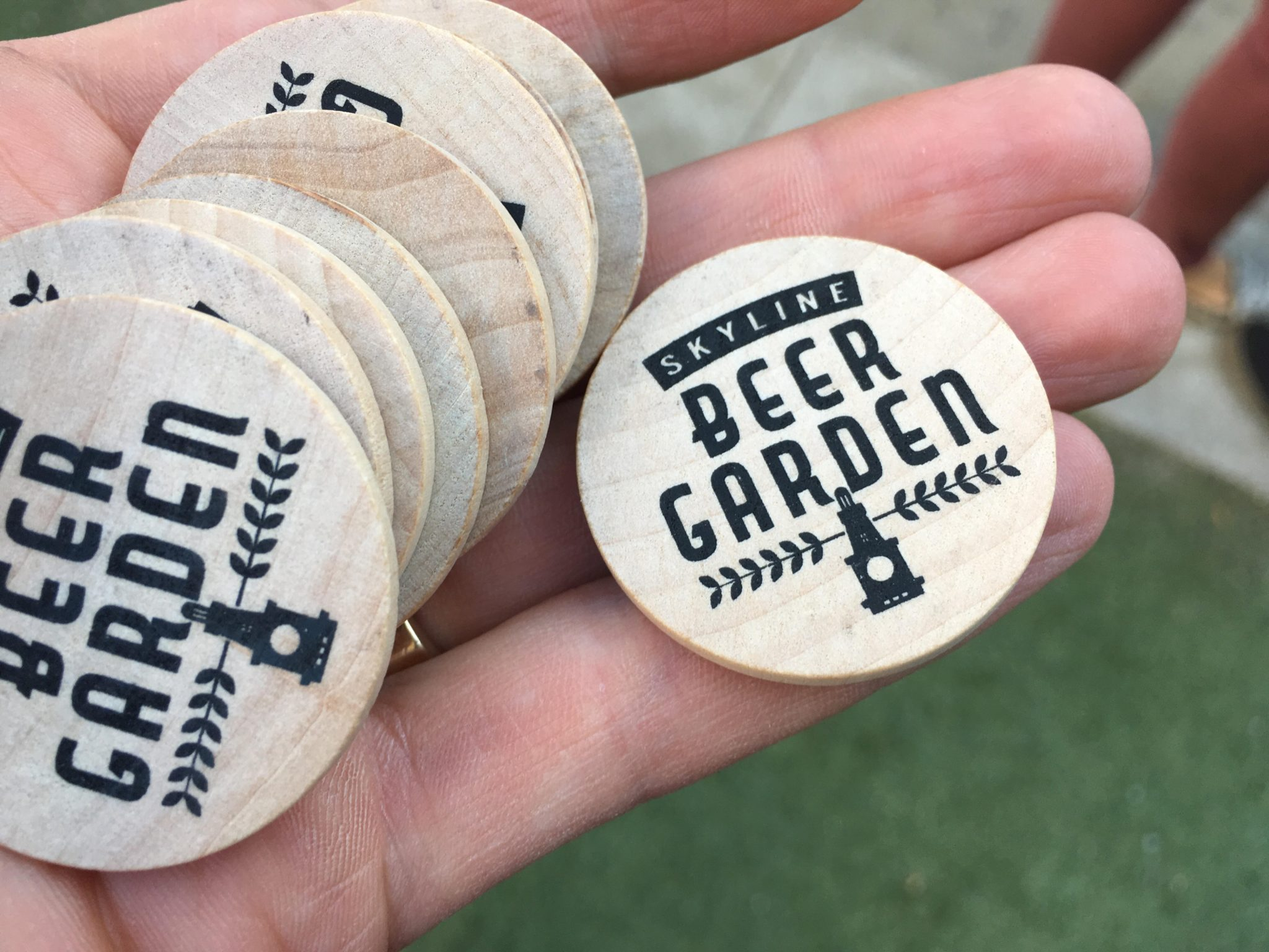 Tokens at the beer garden at Skyline Park in downtown Denver. (Dave Burdick/Denverite)