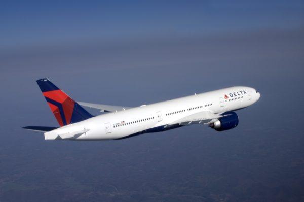 Boeing 777-200LR in flight. (Courtesy of Delta Air Lines)