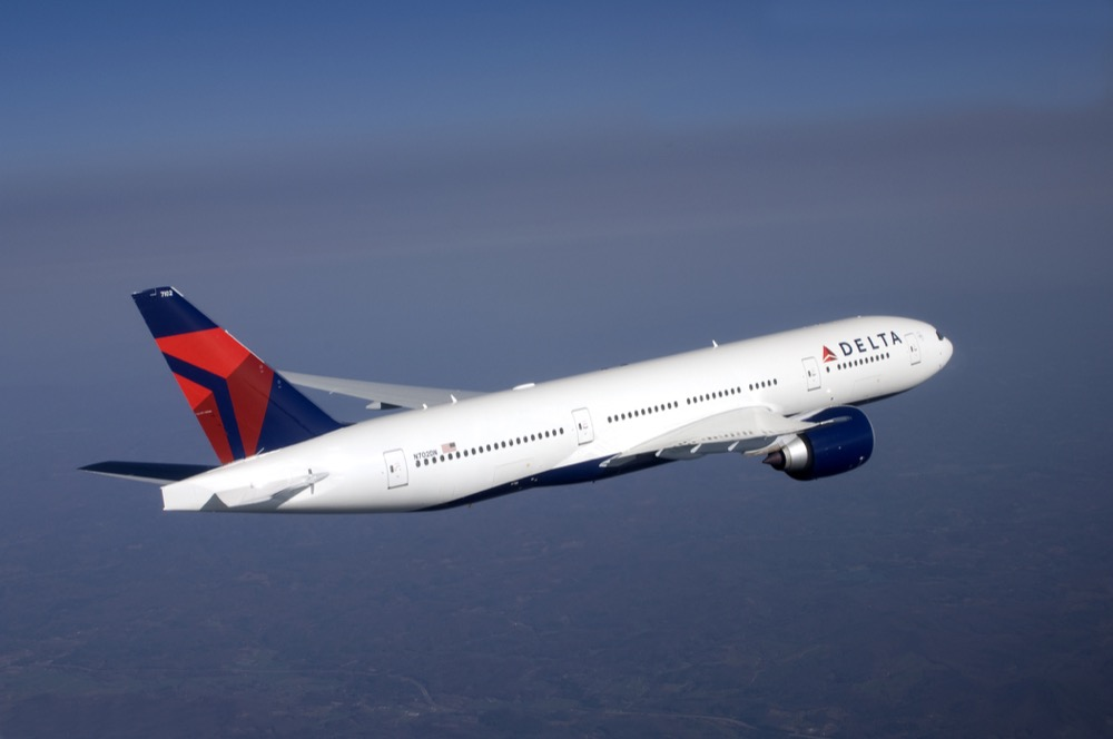 Boeing 777-200LR in flight. (Courtesy of Delta Air Lines)