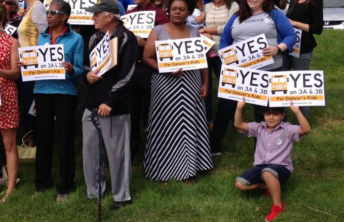 Supporters of the 2016 DPS bond issue and mill levy override at a kickoff event Friday. (Melanie Asmar/Chalkbeat)