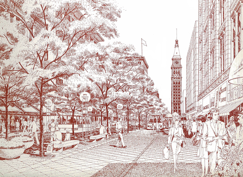A concept image from the 1976 plan for 16th Street Mall. © Pei Cobb Freed & Partners