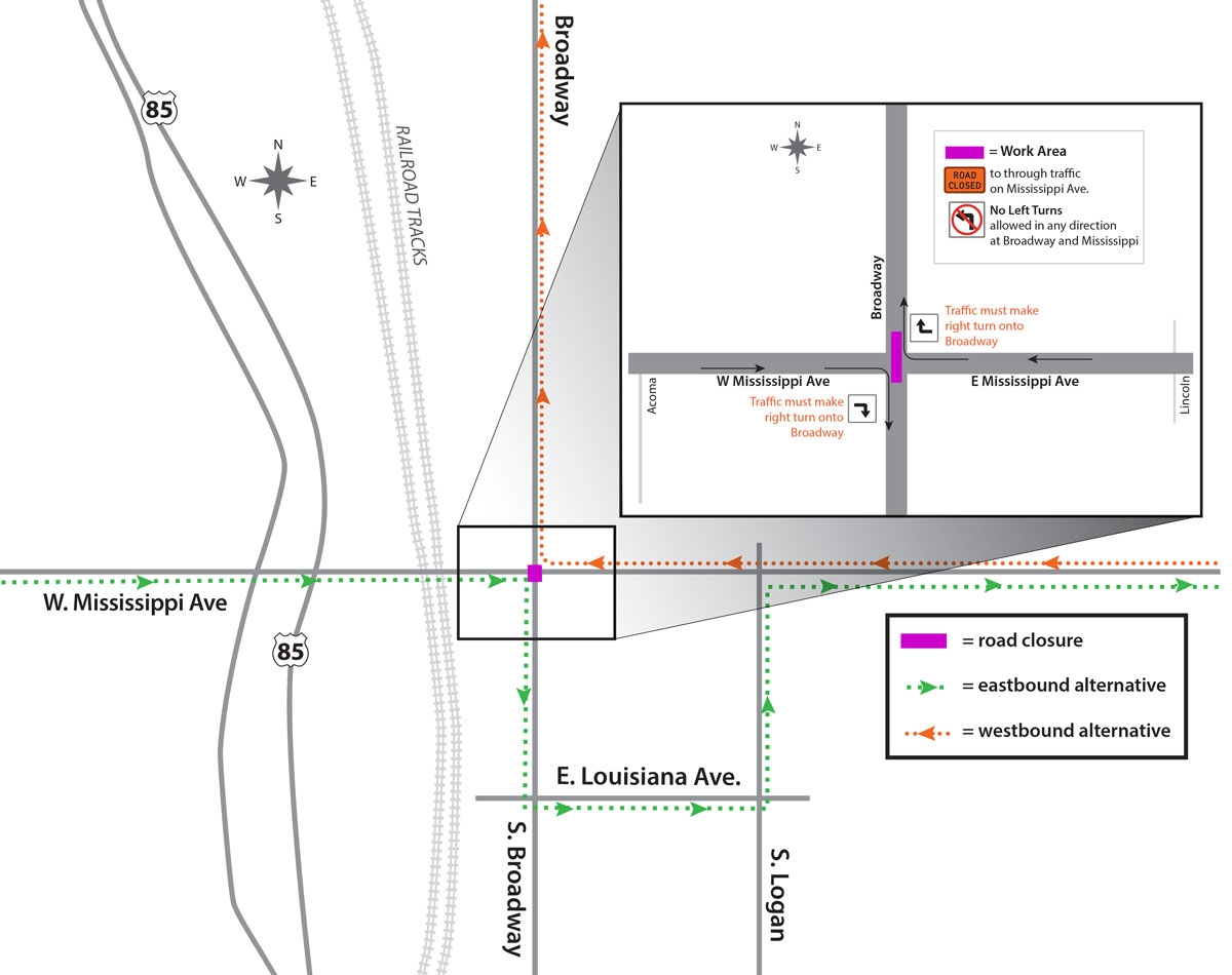 Drivers on West Mississippi Avenue will have to take a detour for a few weeks. (Denver Public Works)