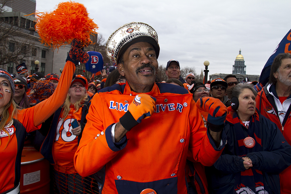 """Ralph """"Limo Driver"""" Williams, a well-known Broncos super fan at the Broncos Superbowl rally on Jan. 31, 2016. (Kevin J. Beaty)  broncos; limo driver; rally; football; kevinjbeaty; denver; colorado; denverite; civic center park;"""