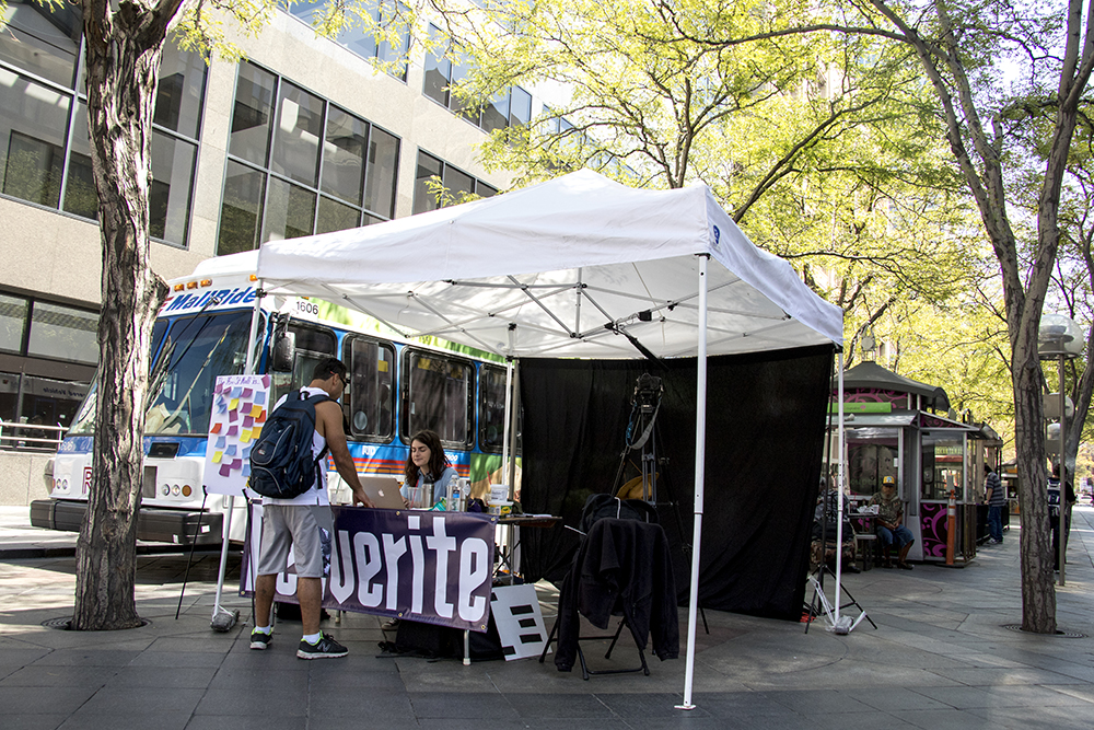 The Denverite tent on the 16t Street Mall. (Kevin J. Beaty/Denverite)