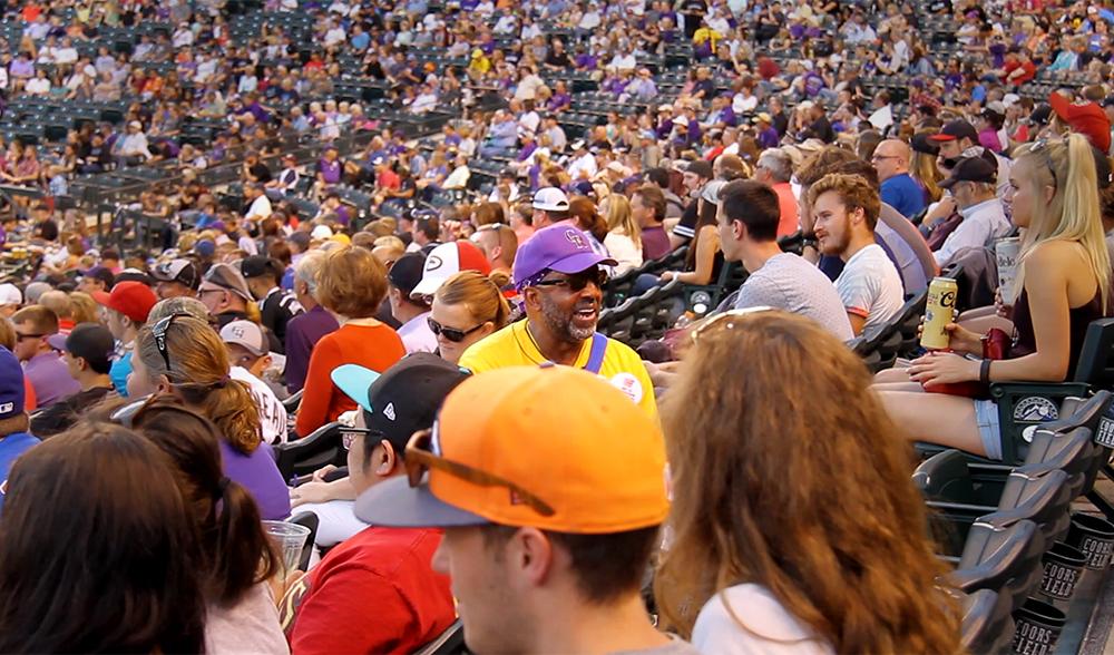Howard Greer at work in the bleachers at Coors Field. (Kevin J. Beaty/Denverite)  coors field; rockies; beer; food; sports; kevinjbeaty; christian clark; opera man; Howard Greer; denver; denverite; colorado;
