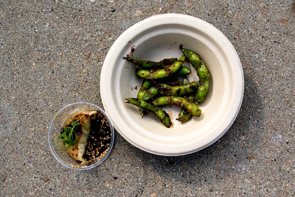 Spicy edamame and a veggie dumpling from Nishi. (Chloe Aiello/Denverite)