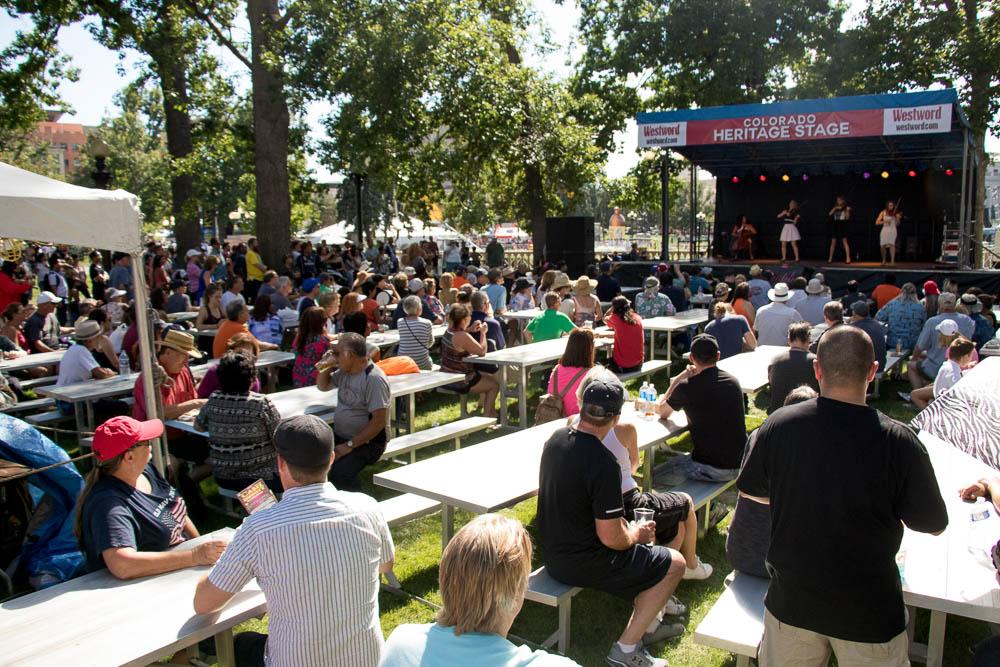 The Colorado Heritage Stage at Taste of Colorado. (Chloe Aiello/Denverite)