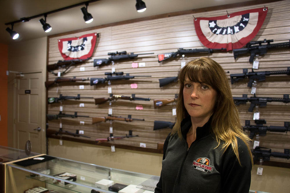 Jacquelyn Clark at Bristlecone Shooting, Training and Retail Center. (Chloe Aiello/Denverite)