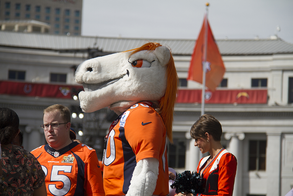 Miles the mascot at the unvieling of Broncos Boulevard in front of the City and County Building. Sept. 7, 2016. (Kevin J. Beaty/Denverite)  denver broncos; football; civic center park; city and county building; kevinjbeaty; denver; denverite; colorado;