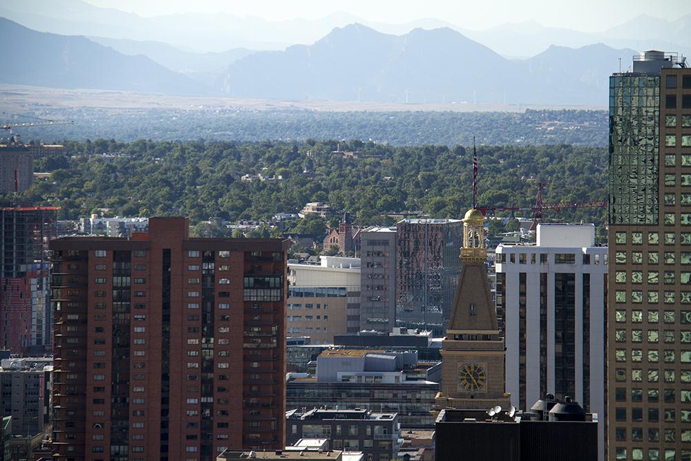 Denver, looking eastward. (Kevin J. Beaty/Denverite)  landscape; cityscape; denver; colorado; cowx; weather; kevinjbeaty; denverite; 16th street mall; clocktower
