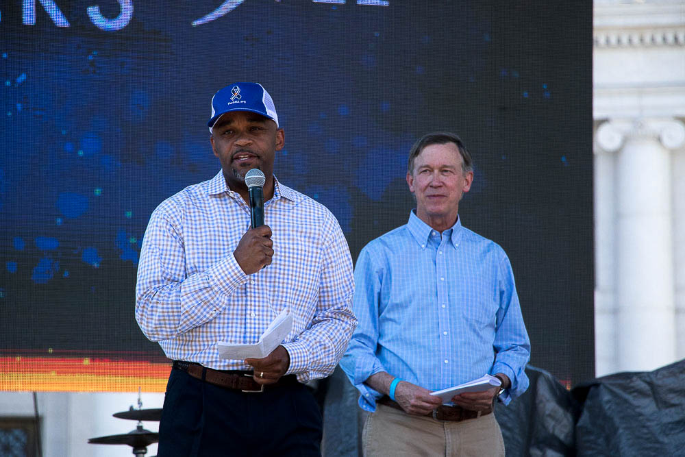 Hickenlooper and Hancock at CO Remembers 9/11. (Chloe Aiello/Denverite)