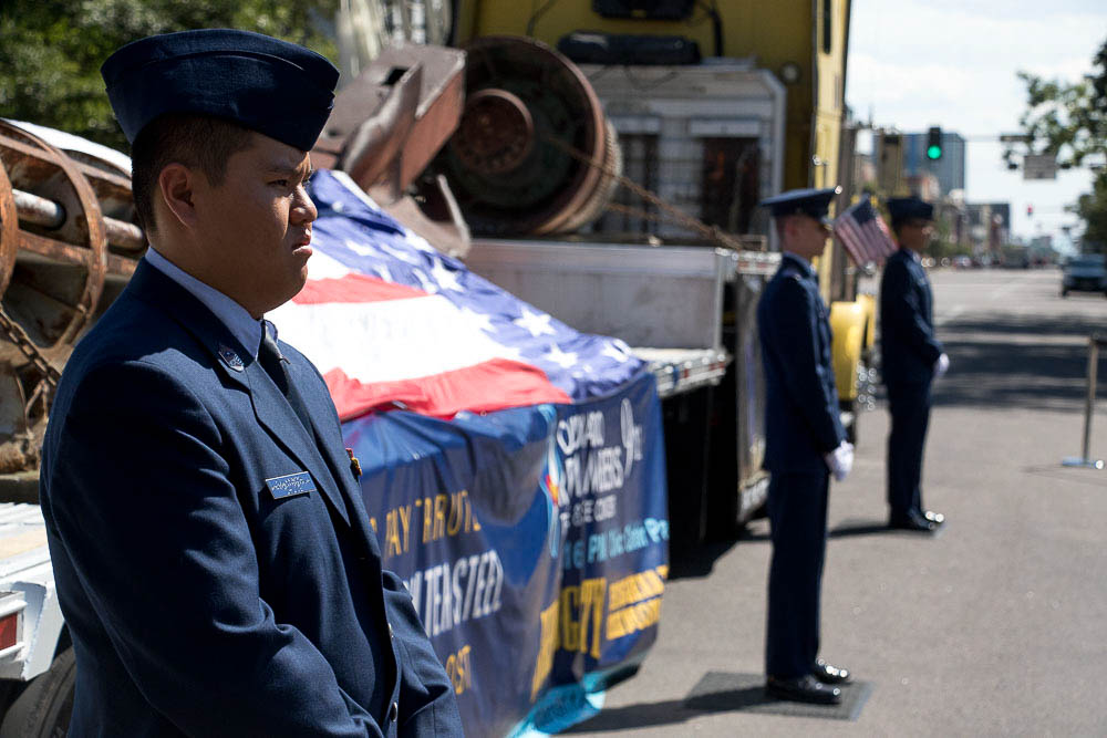 Wreckage from the World Trade Centers at CO Remembers 9/11. (Chloe Aiello/Denverite)