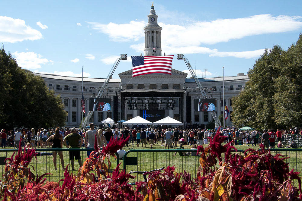 Civic Center Park during CO Remembers 9/11. (Chloe Aiello/Denverite)