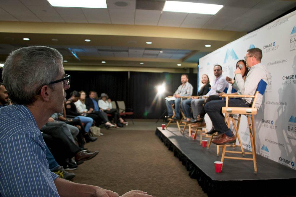 Mental Health in the Startup Scene panel at Basecamp for Denver Startup Week. (Chloe Aiello/Denverite)