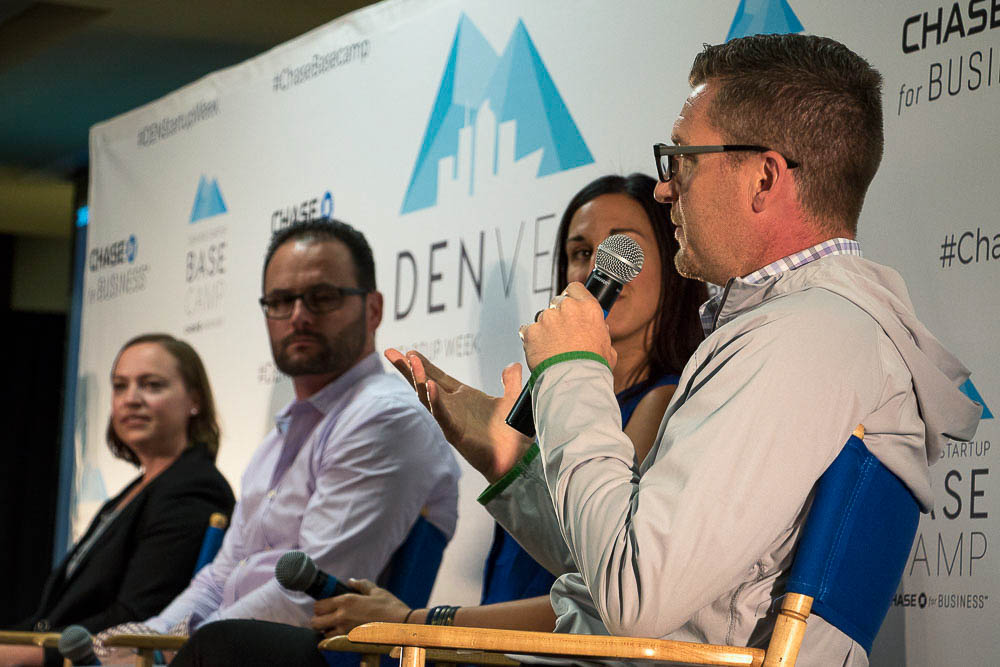 Toby Krout speaks during mental health panel for Denver Startup Week. (Chloe Aiello/Denverite)